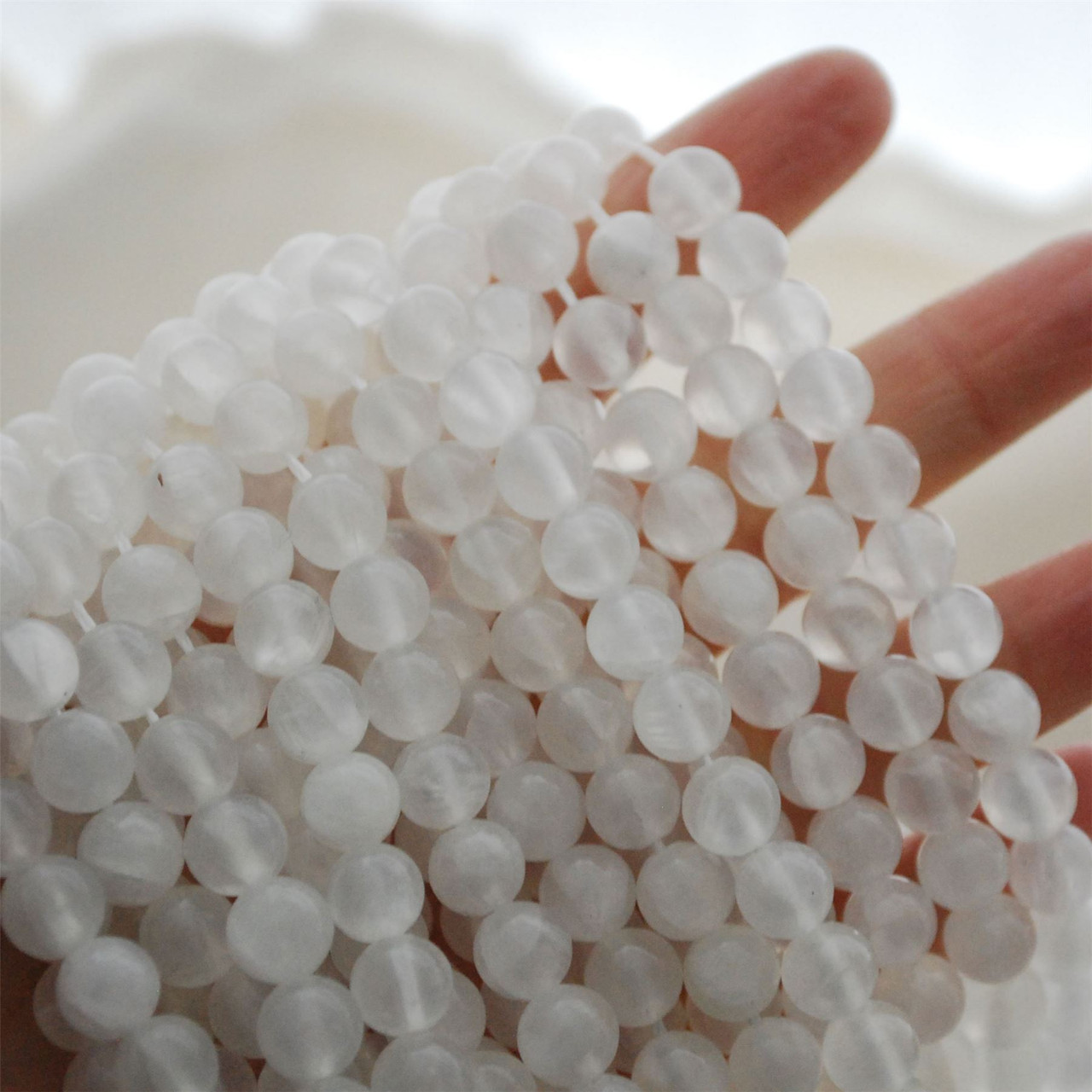Full strand 16--Natural Selenite White  flashy Round Gemstone Beads Size 6mm 8mm 10mm 12mm   Wholesale for necklace bracelet