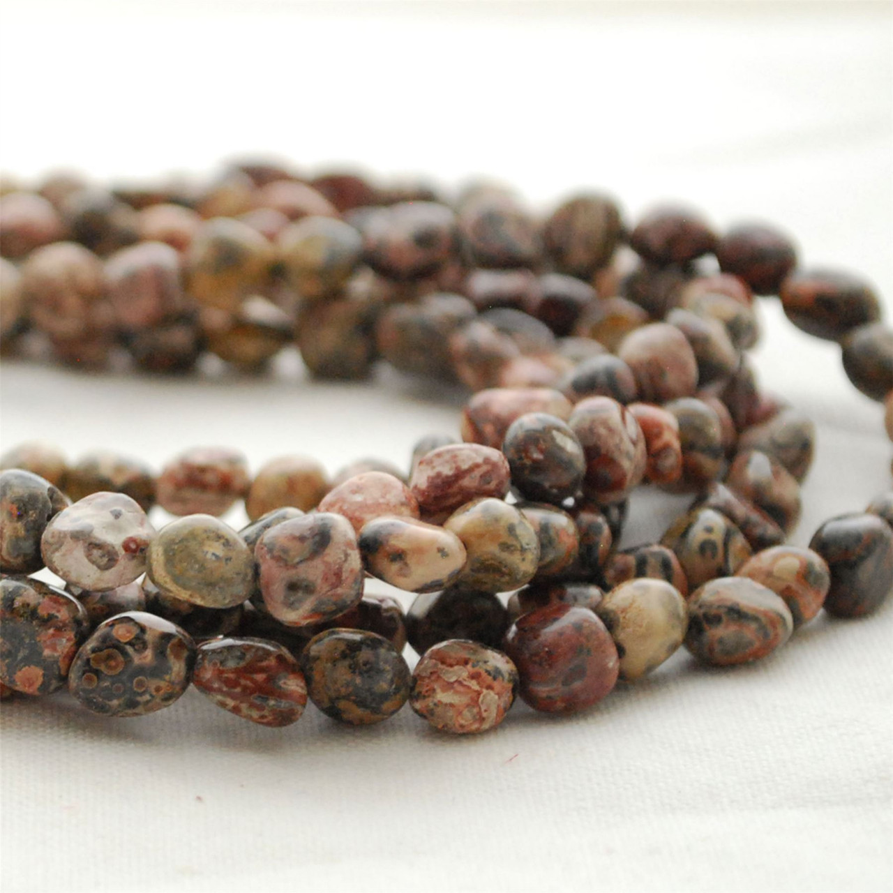 Oval Leopard Jasper Gemstone Beads 10 x 14mm 3 Strands