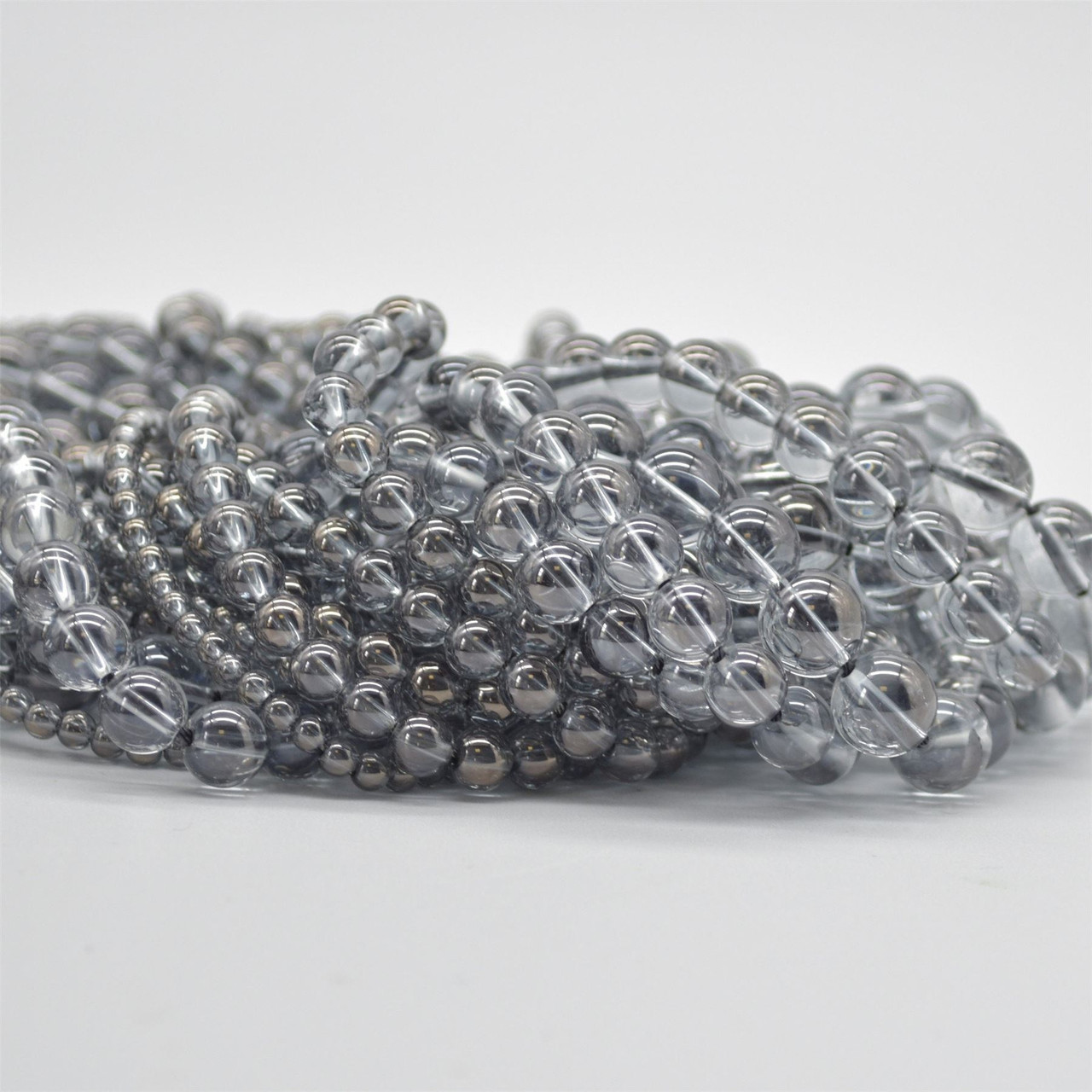 High Quality Grade A Natural Grey Quartz Semi-precious Gemstone Round Beads 8mm 6mm Approx 15.5 strand 10mm sizes 4mm
