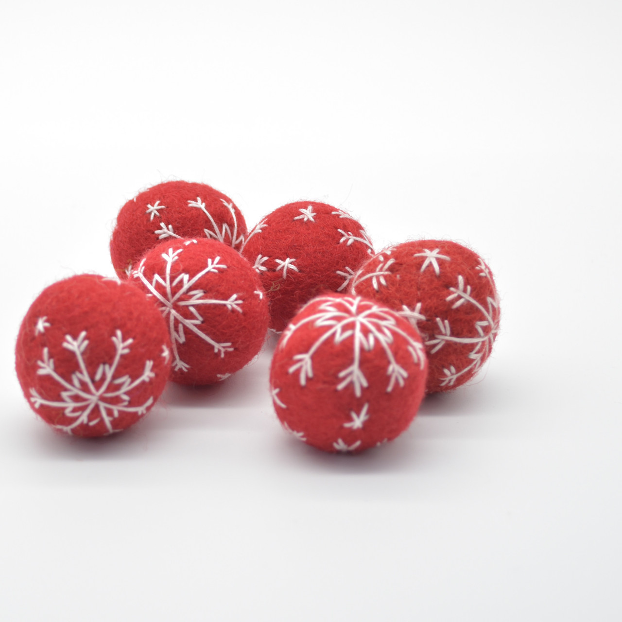 white and red with embroidered wool felt snowflakes 6 snowflake felt balls in grey Great for crafting for Christmas