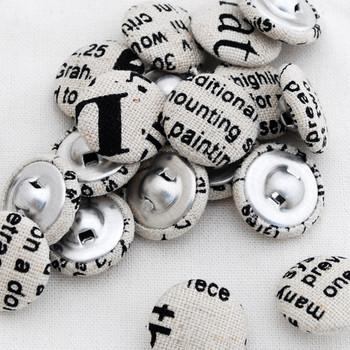 newspaper print fabric buttons black 2cm