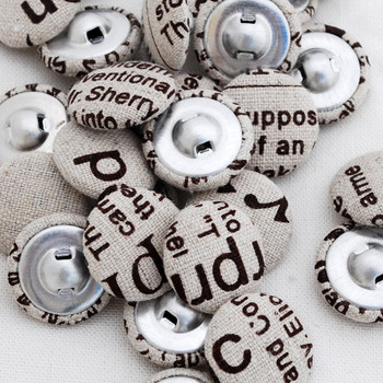 newspaper print fabric covered buttons brown 2cm
