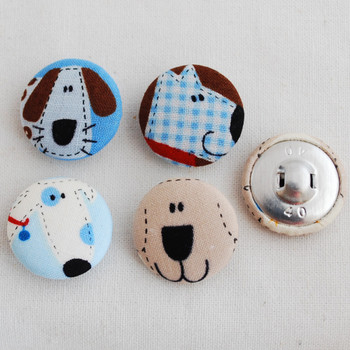 100 Fabric Covered Buttons - Dogs - Blue - 2.5cm