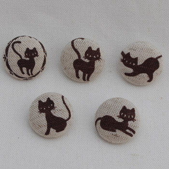 100 Fabric Covered Buttons - Cat - Brown - 2cm
