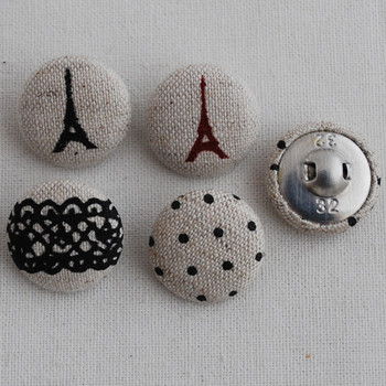 100 Fabric Covered Buttons Paris Eiffel Tower Lace Black Polka Dots - 2cm