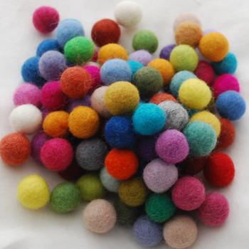 100% Wool Felt Balls - 100 Count - 1.5cm - Assorted Colours