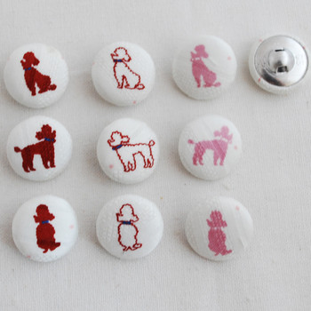 100 Fabric Covered Button - Poodle Dog - 2cm