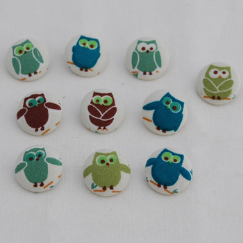 100 Fabric Covered Button - Owl Bird - 2cm