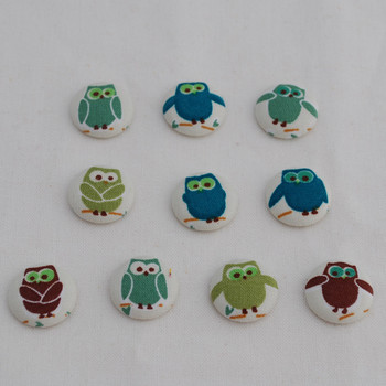 100 Fabric Covered Flat Back Craft Button - Owl Bird - 2cm