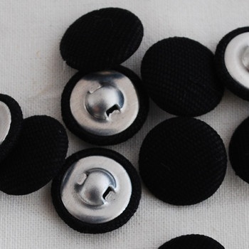 100 Fabric Covered Buttons - Black - 2.8cm