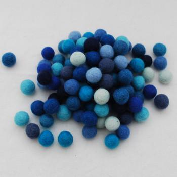100% Wool Felt Balls - 100 Count - 1.5cm - Blue Colours