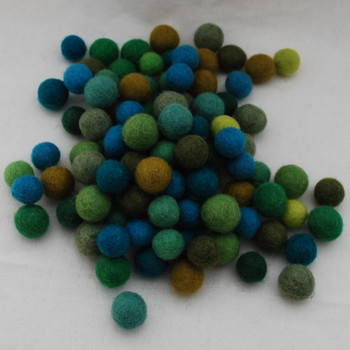 100% Wool Felt Balls - 100 Count - 1.5cm - Green Colours
