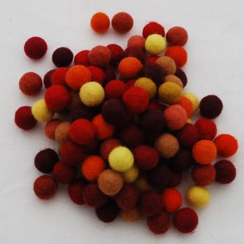 100% Wool Felt Balls - 100 Count - 1.5cm - Yellow Red Orange Colours