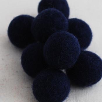 100% Wool Felt Balls - 2.5cm - Navy - 20 Count / 100 Count