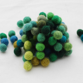 100% Wool Felt Balls - 100 Count - Green Colour Shades - 1cm