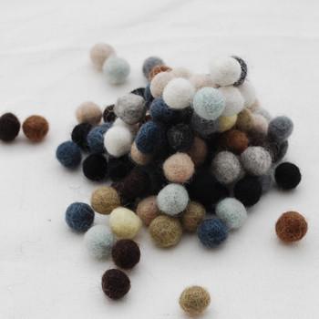 100% Wool Felt Balls - 100 Count - Neutral Colour Shades - 1cm