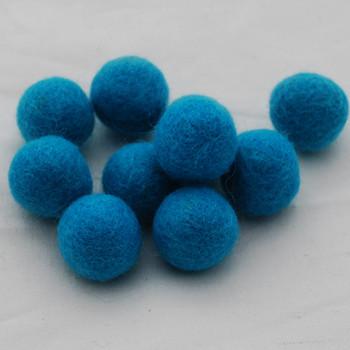 100% Wool Felt Balls - 10 Count - 2.5cm - Teal Blue