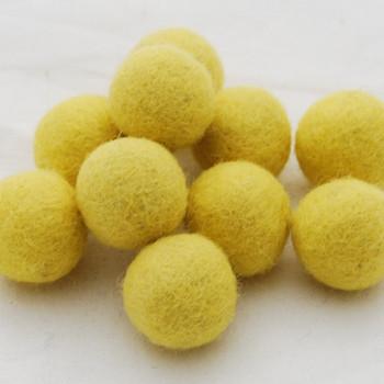 100% Wool Felt Balls - 2.5cm - Yellow - 20 Count / 100 Count