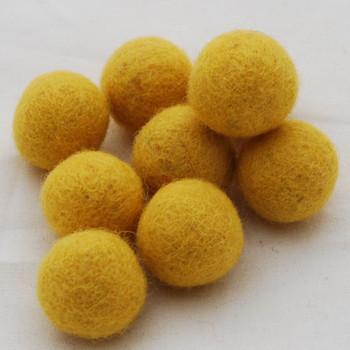100% Wool Felt Balls - 10 Count - 2.5cm - Mustard