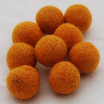 100% Wool Felt Balls - 2.5cm - Orange - 20 Count / 100 Count