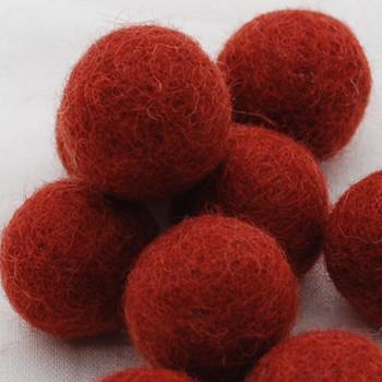 100% Wool Felt Balls - 10 Count - 3cm - Dark Chestnut Red