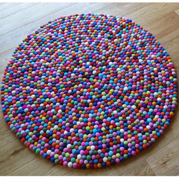 100% Wool Felt Ball Rug - Round - Handmade - 100cm in Diametre - Multi-Coloured 01