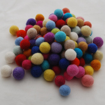 100% Wool Felt Balls - 100 Count - 1.5cm - Assorted Light and Bright Colours