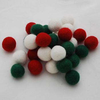 100% Wool Felt Balls - 30 Count - 2cm - Christmas