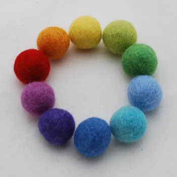 100% Wool Felt Balls - 30 Count - 2cm - Rainbow
