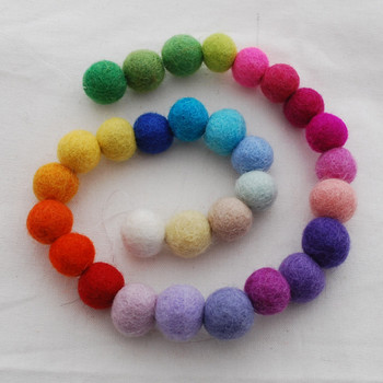 100% Wool Felt Balls - 30 Count - 1.5cm - 30 Light Bright Colours