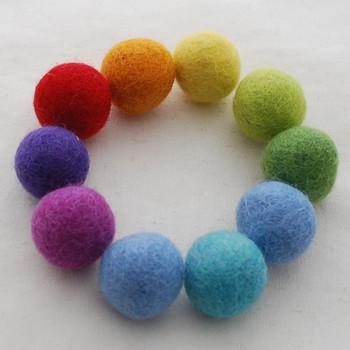 100% Wool Felt Balls - 30 Count - 2.5cm - Rainbow Colours
