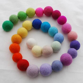 100% Wool Felt Balls - 30 Count - 3cm - 30 Light & Bright Colours