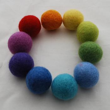 100% Wool Felt Balls - 30 Count - 3cm - Rainbow Colours