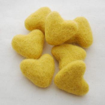 100% Wool Felt Hearts - 10 Count - approx 3cm - Mustard Yellow
