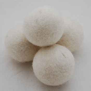 100% Wool Felt Balls - 5 Count - 4cm - Ivory White