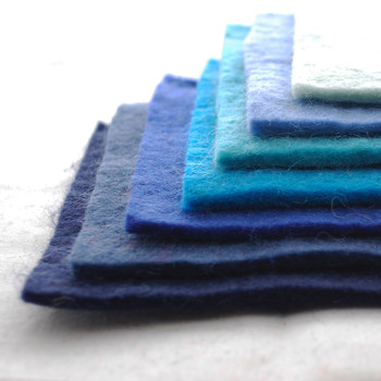 """Handmade 100% Wool Felt Sheets - Approx 5mm Thick - 6"""" Square Bundle - Blue Colours"""