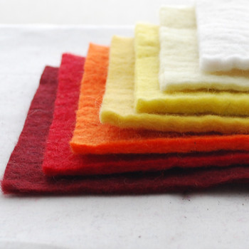 """Handmade 100% Wool Felt Sheets - Approx 5mm Thick - 6"""" Square Bundle - Red Yellow Colours"""