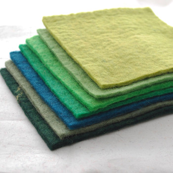 """Handmade 100% Wool Felt Sheets - Approx 5mm Thick - 6"""" Square Bundle - Green Colours"""
