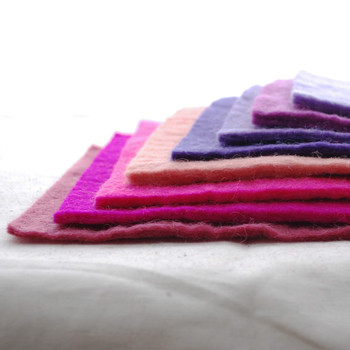 """Handmade 100% Wool Felt Sheets - Approx 5mm Thick - 6"""" Square Bundle - Pink Purple Colours"""