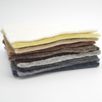 """Handmade 100% Wool Felt Sheets - Approx 5mm Thick - 6"""" Square Bundle - Neutral Colours - 10 Sheets"""