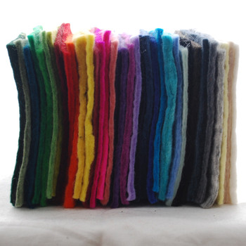 """Handmade 100% Wool Felt Sheets - Approx 5mm Thick - 6"""" Square - 35 Colours Bundle"""
