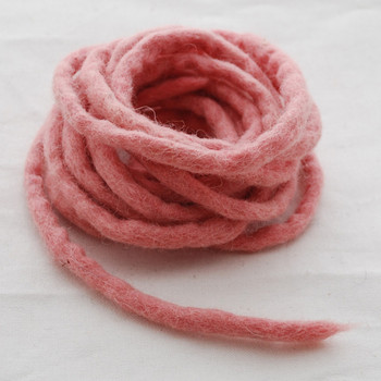 100% Wool Felt Cord - Handmade - 3 Metres - Dusty Rose Pink