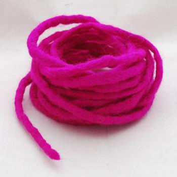 100% Wool Felt Cord - Handmade - 3 Metres - Garden Rose Pink