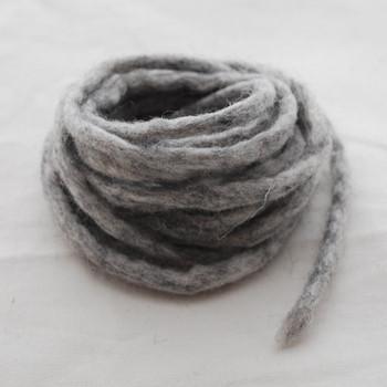 100% Wool Felt Cord - Handmade - 3 Metres - Light Grey Mix