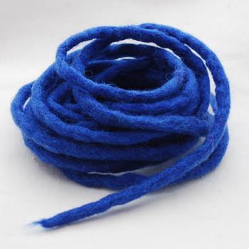 100% Wool Felt Cord - Handmade - 3 Metres - Medium Blue