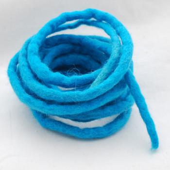 100% Wool Felt Cord - Handmade - 3 Metres - Teal Blue