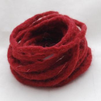 100% Wool Felt Cord - Handmade - 3 Metres - Wine Red