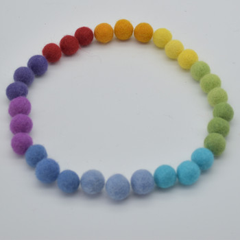 100% Wool Felt Balls - 100 Count - 1.5cm - Rainbow Colours