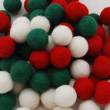 100% Wool Felt Balls - 100 Count - 1.5cm - Christmas Colours - 03