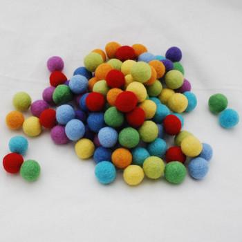 100% Wool Felt Balls - 100 Count - 2cm - Rainbow Colours